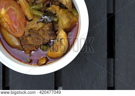 Close Up And Copyspace Picture Of Beef Dalca Served During Eid Mubarak. Dalca Is A Stewed Vegetable