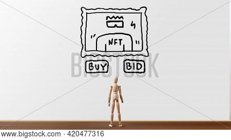 Concept Of Crypto Business Nft In Purchases Or Bids At Auction For Creativity And Art.
