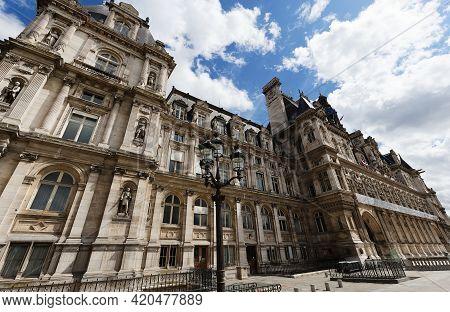 Paris, The City Hall, Place De L Hotel De Ville, Beautiful Parisian Monument. Paris. France.