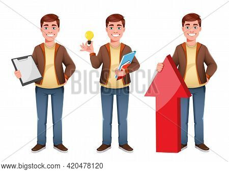 Handsome Business Man, Set Of Three Poses. Young Businessman Cartoon Character In Flat Style. Stock