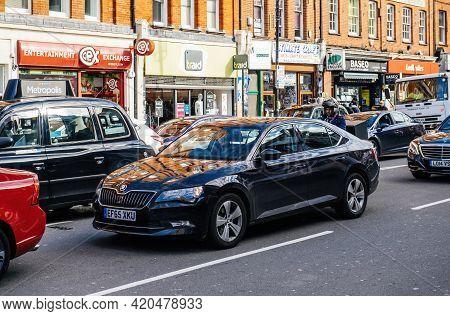 London, United Kingdom - Mar 9, 2017: Luxury Skoda Superb Spotted In London Traffic Jam With Multipl