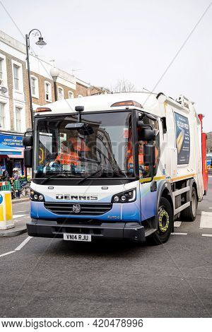 London, United Kingdom - Mar 9, 2017: Front View Of Dennis Elite 6 Refuse And Environmental Truck On