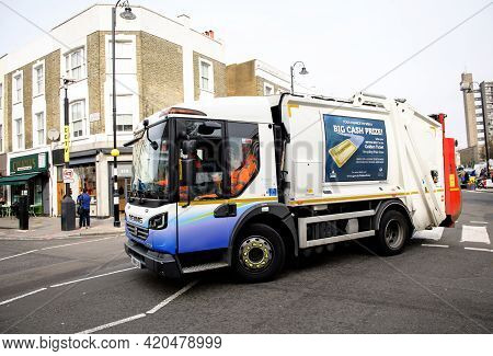 London, United Kingdom - Mar 9, 2017: Side View Of Dennis Elite 6 Refuse And Environmental Truck On