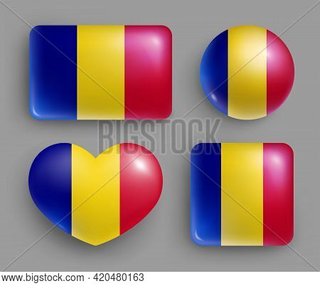 Glossy Buttons With Romania Country Flags Set. European Country National Flag Shiny Badges Of Differ