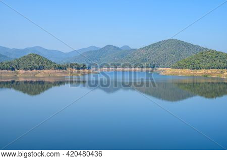 Spectacular View Of The Nature In Mae Kuang Dam, Chiang Mai Province Of Thailand. Mae Kuang Dam Is A