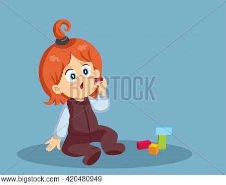 Toddler Child About To Swallow A Cube Toy