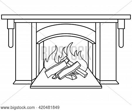 Fireplace - Vector Linear Picture For Coloring. Outline. Burning Wood In The Fireplace - Element For