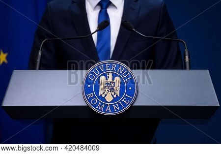 Bucharest, Romania - May 13, 2021: Florin Citu, Prime Minister Of Romania, Answer The Questions Of J