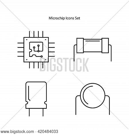 Microchip Icons Set Isolated On White Background From Industrial Process Collection. Microchip Icon