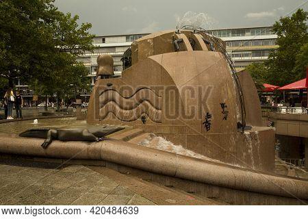 Berlin, Germany, 22 July 2017. World Fountain In Front Of The Europa-center In Breitscheidplatz, Ber
