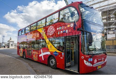 Copenhagen, Denmark - Oct 19, 2018: Red Double Decker Official City Sightseeing Tour Bus Operated By