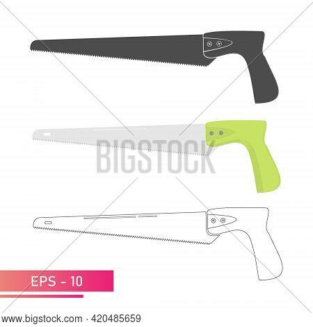 A Set, A Small Handy Saw For A Carpenter. Linear, Solid And Realistic Design. On A White Background.