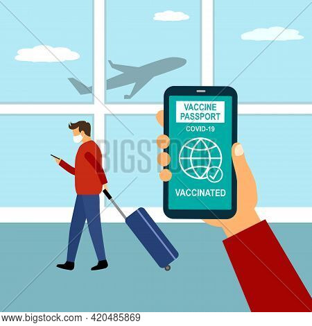 Covid19 Vaccinated Health Passport On Smartphone Concept. Man Looking Vaccine Passport On Mobile Scr