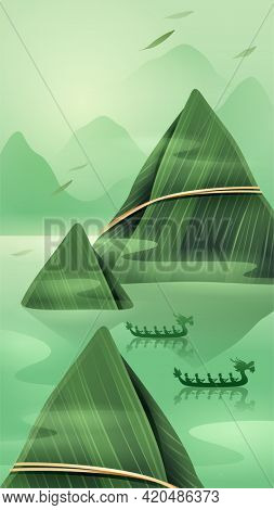 Dragon Boat Festival with rice dumpling mountain and dragon boat on oriental tranquil scene. Vertical banner.