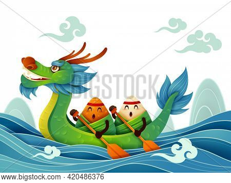 Dragon Boat Festival with rice dumpling cartoon character and dragon boat on water.