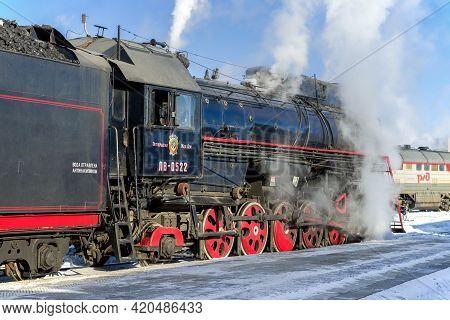 Sortavala, Russia - March 10, 2021: Soviet Mainline Cargo Steam Locomotive Lv-0522 On The Sortavala
