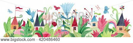 Watercolor illustration with cute village houses, wildflowers, herbs and butterflies. Panoramic horizontal isolated illustration. Horizontal banner.
