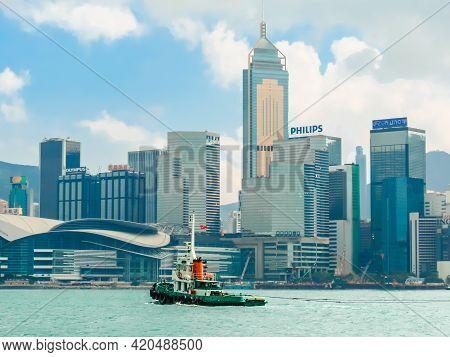 Hong Kong, Hong Kong - November 09, 2012: View On The Central District Hong Kong Island And Victoria