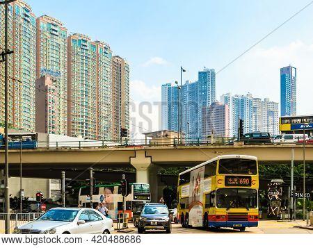 Hong Kong, Hong Kong - November 03, 2012: Streets Of The Central District Hong Kong Island, Hong Kon