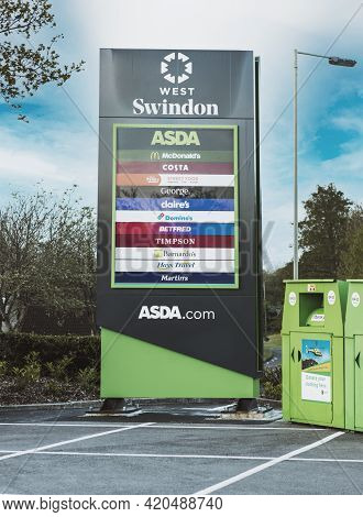 Swindon, Uk - May 11, 2021: Signage For The Newly Revamped Asda Supermarket In West Swindon
