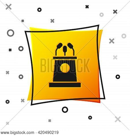 Black Stage Stand Or Debate Podium Rostrum Icon Isolated On White Background. Conference Speech Trib