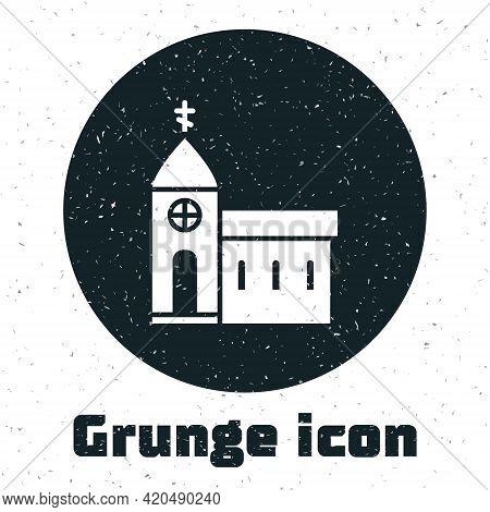 Grunge Church Building Icon Isolated On White Background. Christian Church. Religion Of Church. Mono