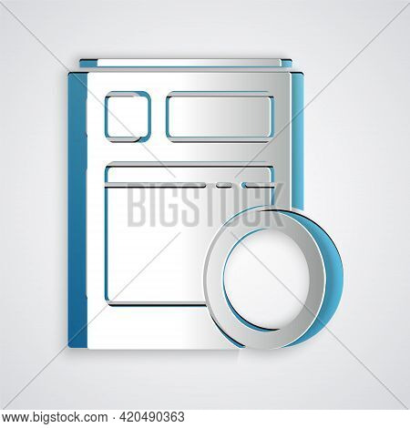 Paper Cut Kitchen Dishwasher Machine Icon Isolated On Grey Background. Paper Art Style. Vector Illus