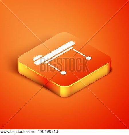 Isometric Stretcher Icon Isolated On Orange Background. Patient Hospital Medical Stretcher. Vector I