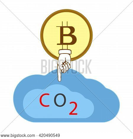Flat Vector Illustration Cloud, Carbon Dioxide, Bitcoin. The Concept Of Cryptocurrency And Environme