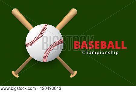 Baseball And Baseball Bats On A Green Background, Sport Game , Vector Illustration.