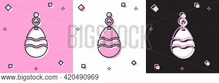 Set Fishing Spoon Icon Isolated On Pink And White, Black Background. Fishing Baits In Shape Of Fish.