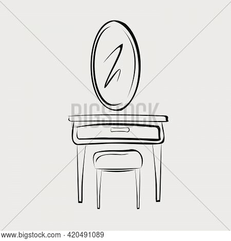 Cosmetic Table With Mirror. Oval Mirror, Chest Of Drawers And Chair.  Part Of A Set Of Furniture And