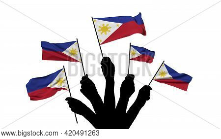 Philippines National Flag Being Waved. 3d Rendering