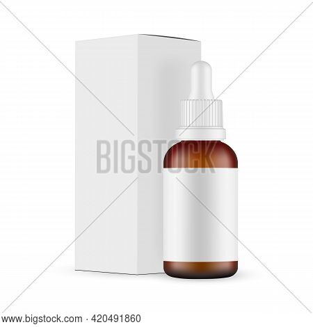 Plastic Frosted Amber Dropper Bottle Mockup With Blank Label, Paper Box Side View, Isolated On White