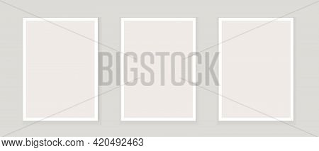 Mockup, Frame Wall Art Vector. Three Empty Posters, Picture On Wall. B