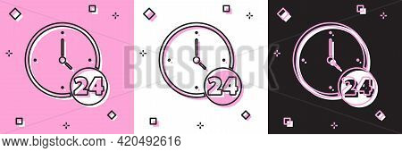 Set Clock 24 Hours Icon Isolated On Pink And White, Black Background. All Day Cyclic Icon. 24 Hours
