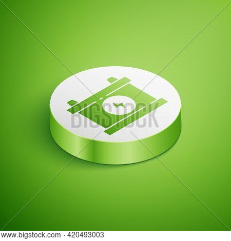 Isometric Car Battery Icon Isolated On Green Background. Accumulator Battery Energy Power And Electr
