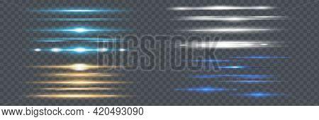Red Horizontal Lens Flares Pack. Laser Beams, Horizontal Light Rays.beautiful Light Flares. Glowing