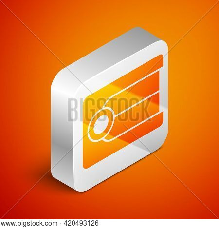Isometric Dentures Model Icon Isolated On Orange Background. Dental Concept. Silver Square Button. V