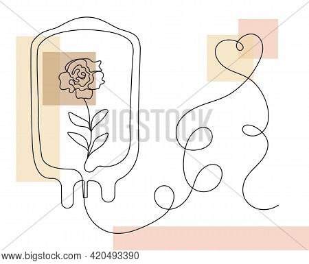 Boho Dropper With Rose Inside. Bohemian Donor Day Concept Vector.