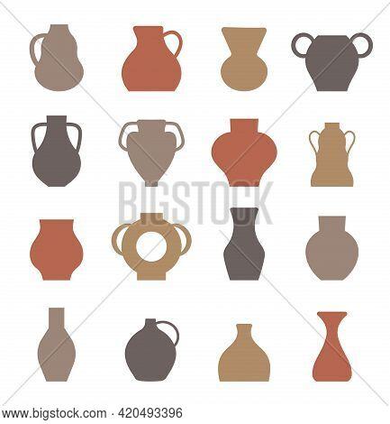 Jug Boho Set Vector. Vase, Vessel, Amphora Elements In Bohemian Style.