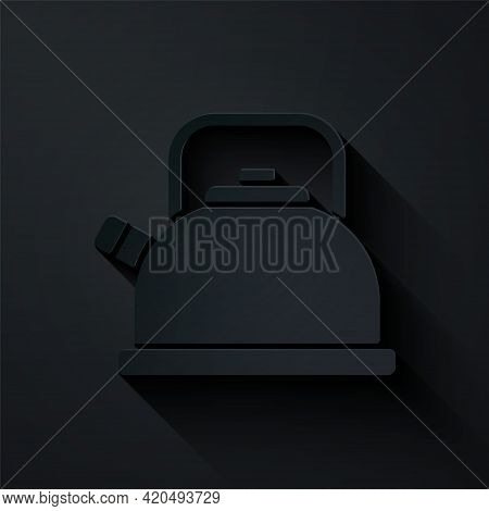 Paper Cut Kettle With Handle Icon Isolated On Black Background. Teapot Icon. Paper Art Style. Vector