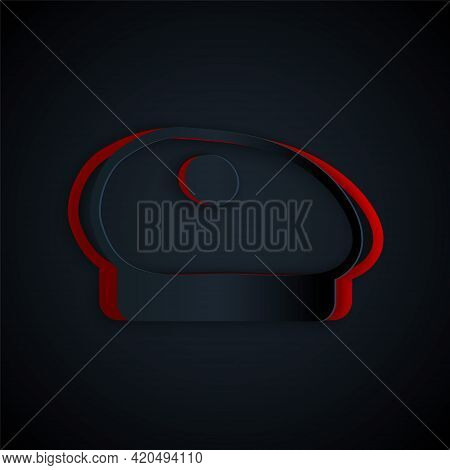 Paper Cut French Beret Icon Isolated On Black Background. Paper Art Style. Vector