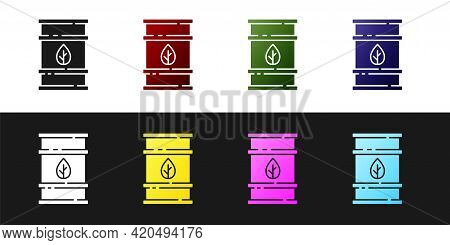 Set Bio Fuel Barrel Icon Isolated On Black And White Background. Eco Bio And Canister. Green Environ