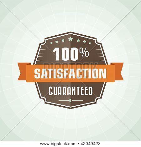 100 percent satisfaction vector vintage vector label poster