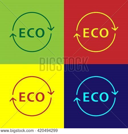 Pop Art Banner, Label, Tag, Logo For Eco Green Healthy Food Icon Isolated On Color Background. Organ