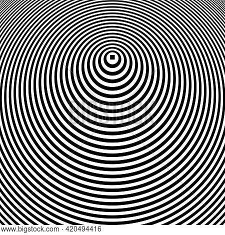 Abstract Op Art Design With 3d Illusion Effect. Circle Concentric Rings Pattern. Vector Art.