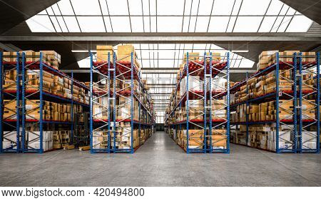 3d render of warehouse building interior