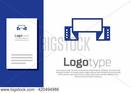 Blue Traditional Ukrainian Embroidered Towel Icon Isolated On White Background. Logo Design Template
