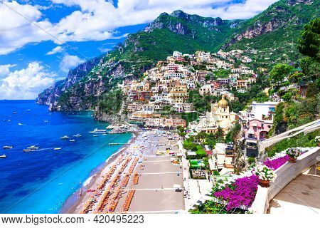Amalfi coast of Italy. beautiful Positano town. one of the most scenic places for summer holidays. Campania